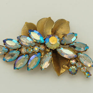 Vintage 1960s Floral Spray Pin with Aurora Boreali
